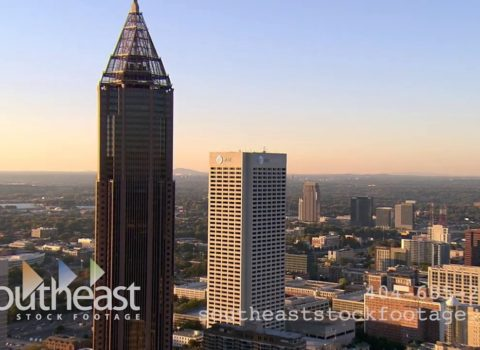 Aerials: Atlanta ATT Building Golden Hour
